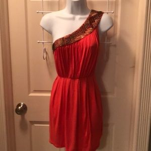FOREVER 21 ONE SHOULDER BEADED TUNIC DRESS